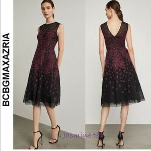 BCBGMAXAZRIA sleeveless Embroidered dress,4, new